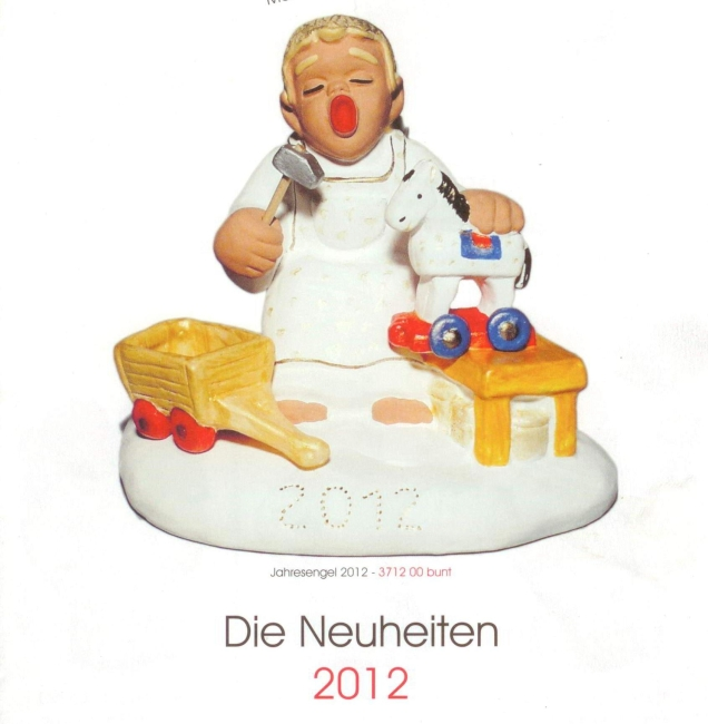 Rot Ceramic Angel of Year 2012 Der Spielzeug-Macher red 14 cm