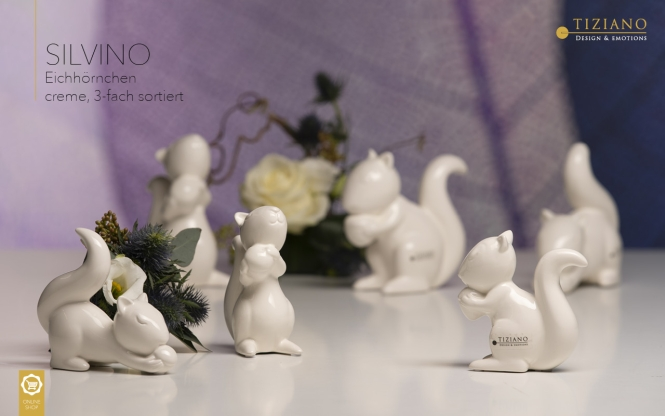 Tiziano Squirrel Silvino 12 cm creme assorted